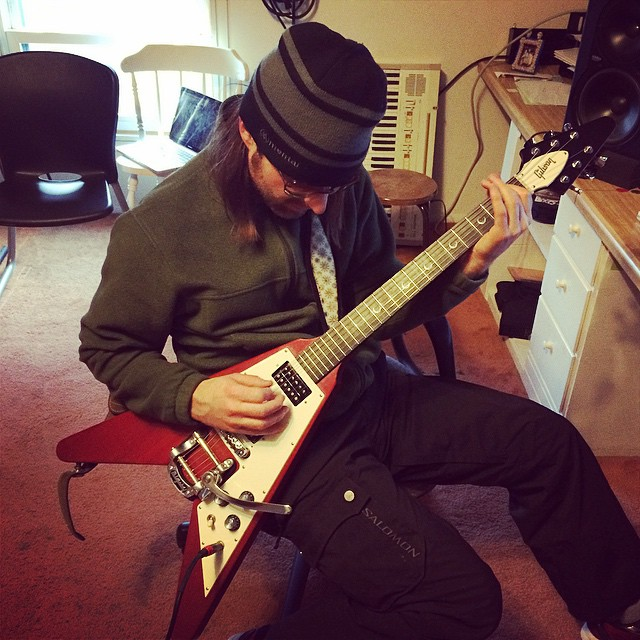 Back to the studio with Lenny Kravitz and The Flying V... uh, I mean my boy T Sly and The Flying V. #bullypreventionmusic #feelgoodmusic #GibsonFlyingV!